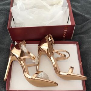 Rose gold strappy stiletto heels
